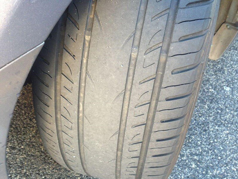 overinflated tire wear