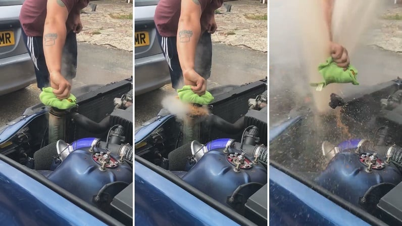 don't open the radiator cap when your car is overheated!