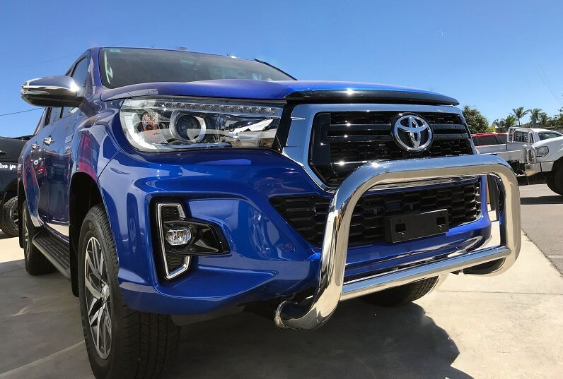 stainless steel bull bar on a 4x4 toyota vehicle